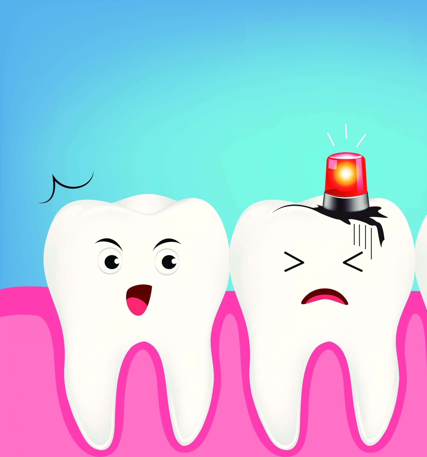 Cartoon tooth with dental emergency light on showing a crack in the tooth